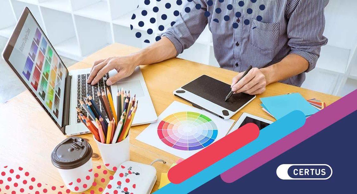 laptop diseño colores manos