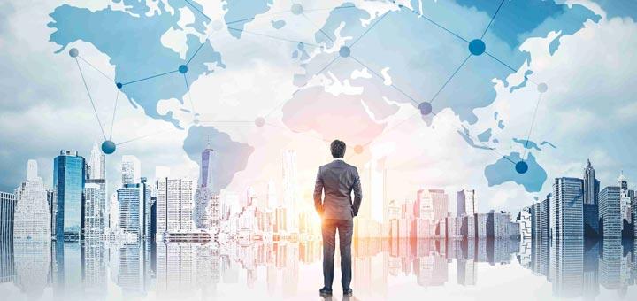 hombre mapa mundo edificios